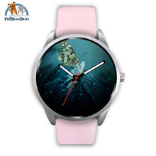Butterfly Silver Watch Mens 40Mm / Pink Leather