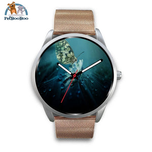 Butterfly Silver Watch Mens 40Mm / Rose Gold Metal Mesh