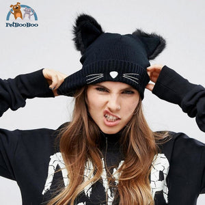 Cat Ears Woolen Knitted Cap Knit Cap