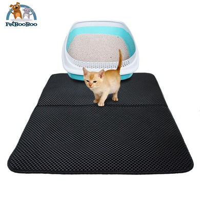 Cat Litter Mat Double-Layer Waterproof Black / S Cat Litter