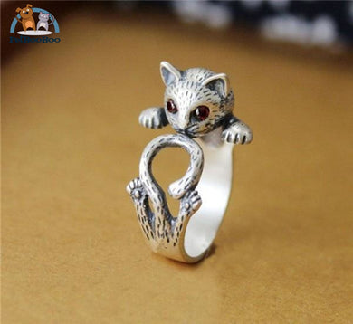 Cat Ring Boho Chic Retro For Women Antique Silver Plated 100007323