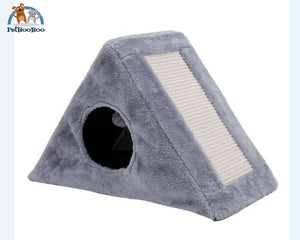 Cat Scratching Post With Toy Foldable Gray / M Cat