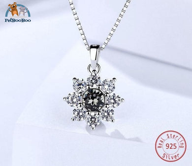 Crystal Snowflake 925 Sterling Silver Pendant Necklace For Women 100007321