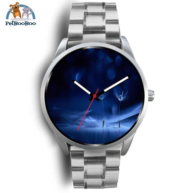 Dark Blue Silver Watch Mens 40Mm / Metal Link