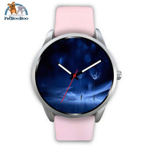 Dark Blue Silver Watch Mens 40Mm / Pink Leather