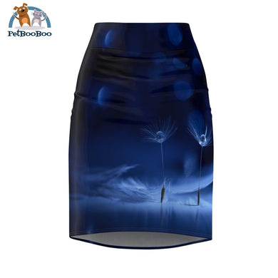 Dark Blue Womens Pencil Skirt L All Over Prints