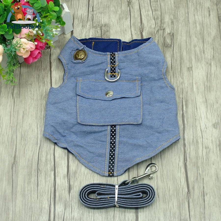 Dog Harness And Leash Jeans Vest Jacket Blue / L Dogs
