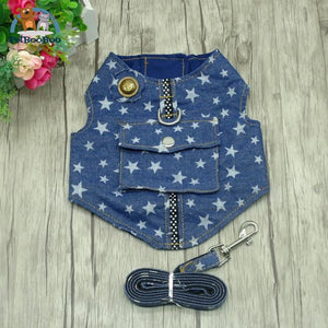 Dog Harness And Leash Jeans Vest Jacket Star / L Dogs