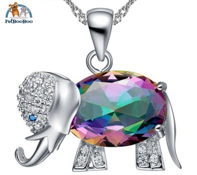 Elephant Necklace And Pendant Platinum Plated / Multi 45Cm Jewel