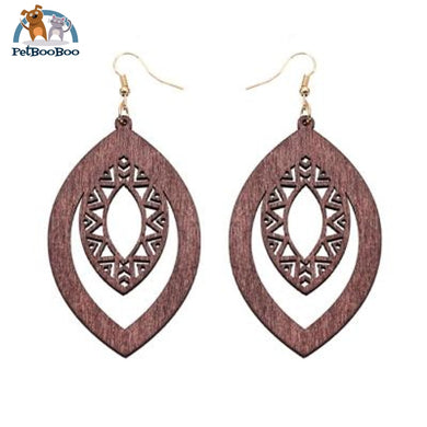 Elliptical Wooden Earrings For Women Brown 200000168