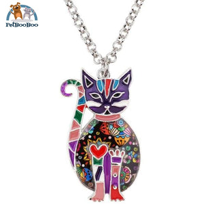 Enamel Alloy Cat Necklace For Women And Girls Purple Jewel