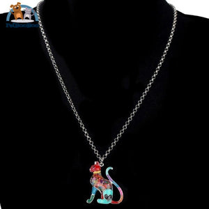 Enamel Alloy Elegant Cat Necklace Pendant For Women 200000162