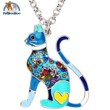 Enamel Alloy Elegant Cat Necklace Pendant For Women Blue 200000162