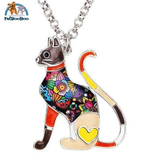 Enamel Alloy Elegant Cat Necklace Pendant For Women Brown 200000162