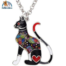 Enamel Alloy Elegant Cat Necklace Pendant For Women Grey 200000162
