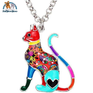 Enamel Alloy Elegant Cat Necklace Pendant For Women Multicolor 200000162