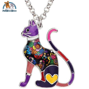 Enamel Alloy Elegant Cat Necklace Pendant For Women Purple 200000162
