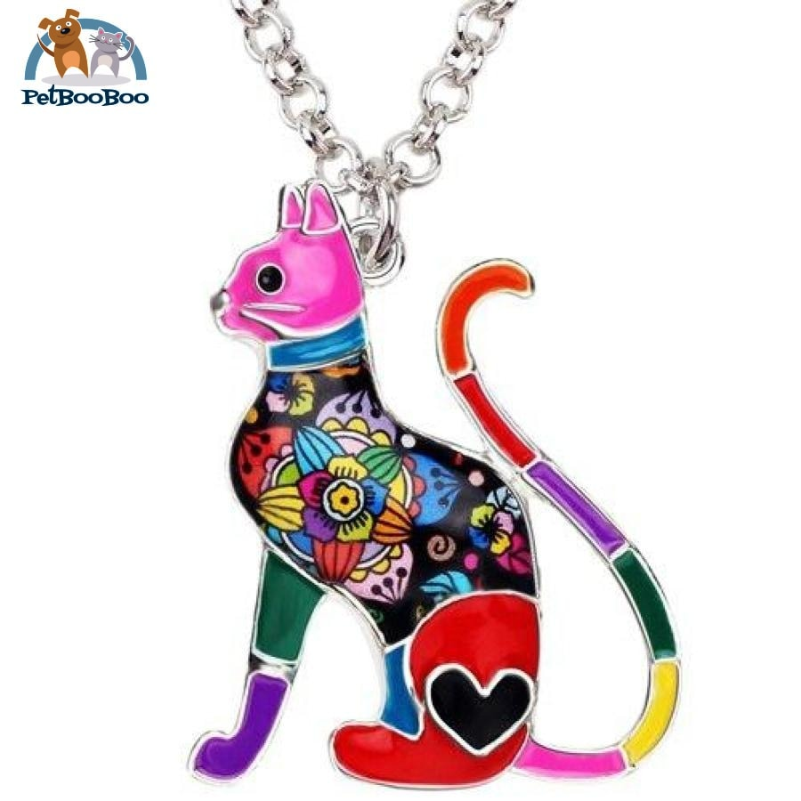Enamel Alloy Elegant Cat Necklace Pendant For Women Red 200000162