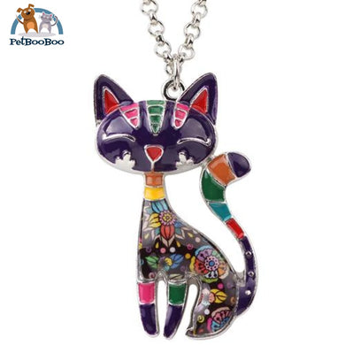 Enamel Cat Necklaces Jewelry Pendants For Women Purple Jewel