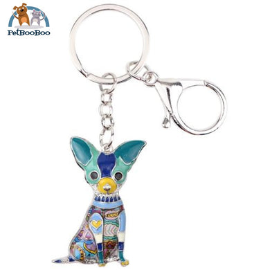 Enamel Chihuahuas Dog Key Chain Ring For Women Blue Jewel