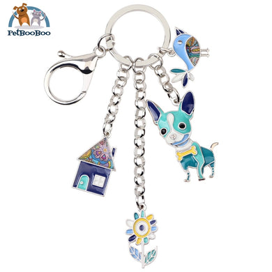 Enamel Metal Chihuahua Dog Key Chain Ring For Women Blue Jewel