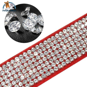 Fancy Suede Dog Collar & Leash With Rhinestone 200003720