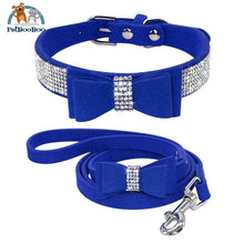Fancy Suede Dog Collar & Leash With Rhinestone Blue / M 200003720