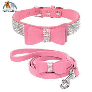 Fancy Suede Dog Collar & Leash With Rhinestone Pink / M 200003720