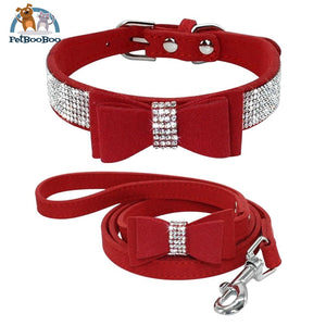 Fancy Suede Dog Collar & Leash With Rhinestone Red / M 200003720