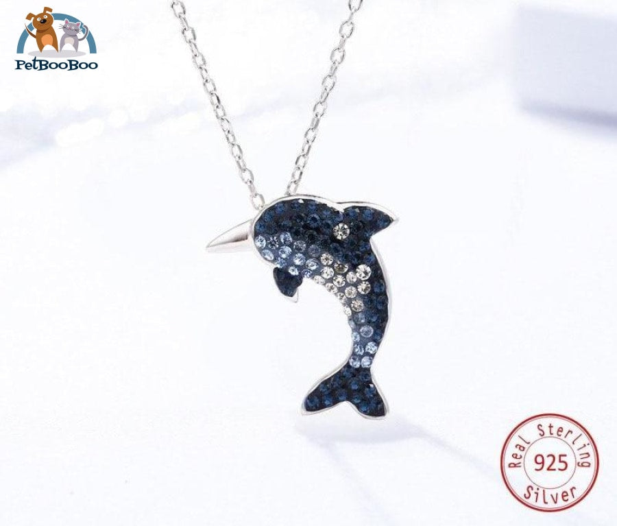 Fashion Dolphin Crystal 925 Sterling Silver Pendant Necklace For Women 200000162