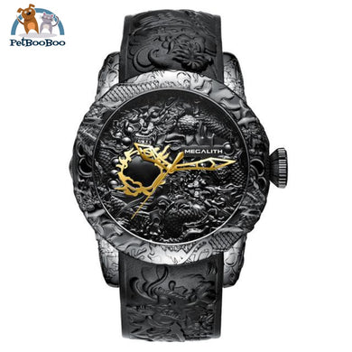 Fashion Dragon Watch For Men Black Rubber Watch