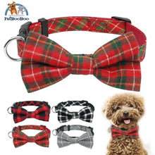 Fashion Plaid Dog & Cats Collar With Bowtie Adjustable 200003720