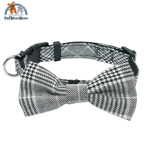 Fashion Plaid Dog & Cats Collar With Bowtie Adjustable Black 1 / M 200003720