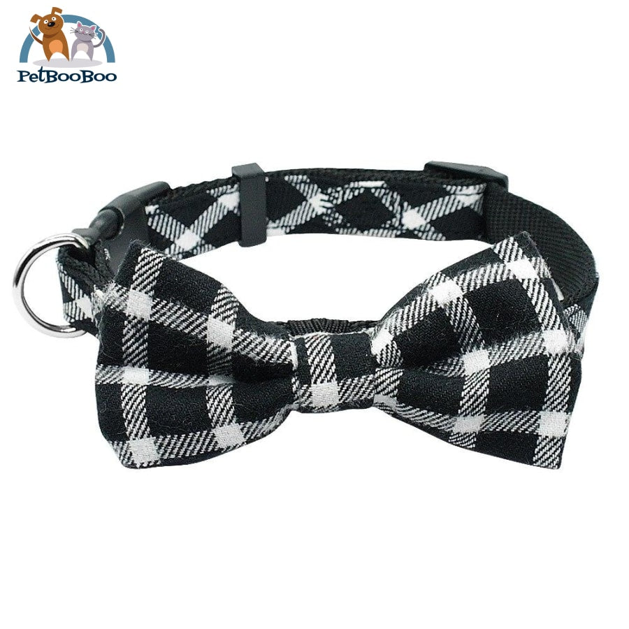 Fashion Plaid Dog & Cats Collar With Bowtie Adjustable Black 2 / M 200003720