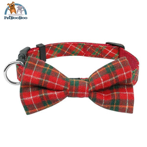 Fashion Plaid Dog & Cats Collar With Bowtie Adjustable Red 1 / M 200003720