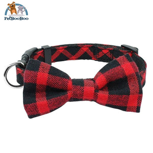 Fashion Plaid Dog & Cats Collar With Bowtie Adjustable Red 2 / M 200003720