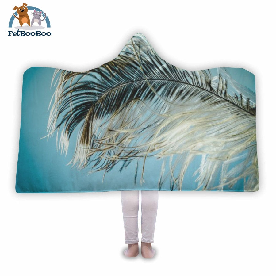 Feather Hooded Blanket Adult 80X55