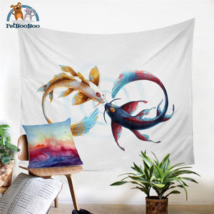 Fish Koi Tapestry Wall Hanging 130X150Cm Tapestry