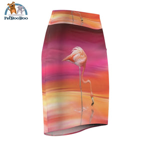 Flamingo Pencil Skirt For Woman All Over Prints
