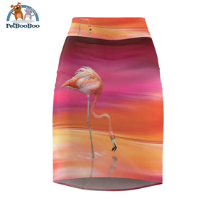 Flamingo Pencil Skirt For Woman Xs All Over Prints
