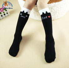 Funny Cats Long Socks For Girls Black Children