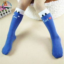 Funny Cats Long Socks For Girls Blue Children