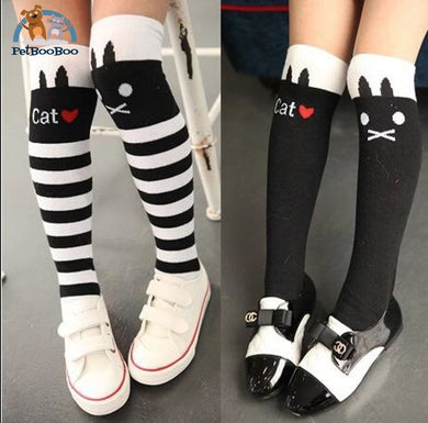 Funny Cats Long Socks For Girls Children