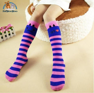 Funny Cats Long Socks For Girls Pink Children