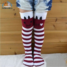 Funny Cats Long Socks For Girls Red Children