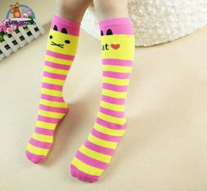Funny Cats Long Socks For Girls Yellow Children