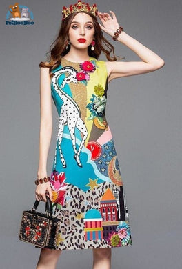 Giraffe Long Tank Dress For Women Multi / S 200000347