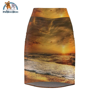 Golden Beach Womens Pencil Skirt L All Over Prints