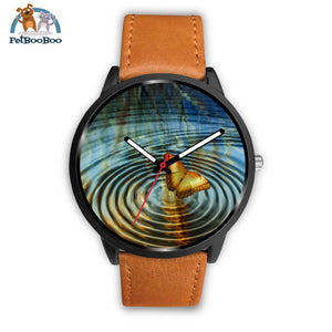 Golden Butterfly Black Watch Mens 40Mm / Brown Leather