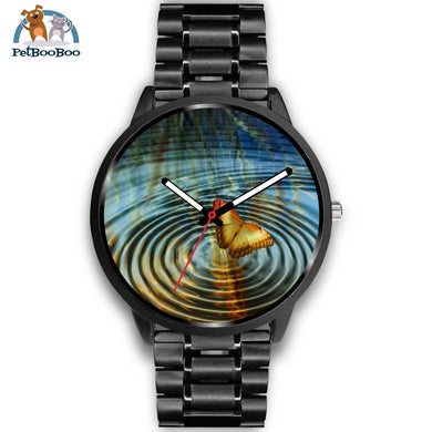 Golden Butterfly Black Watch Mens 40Mm / Metal Link